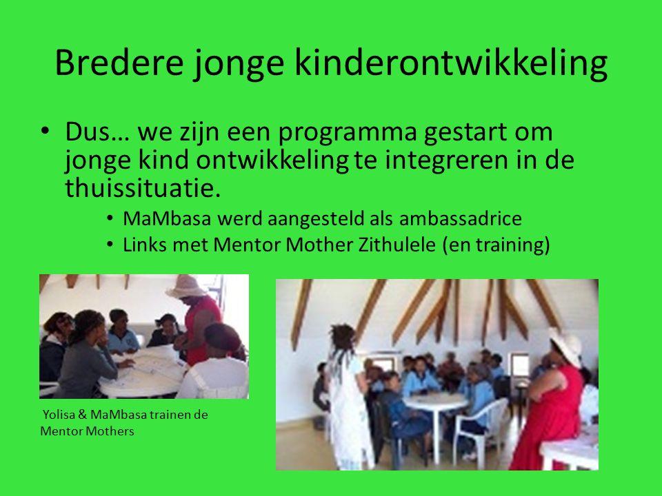 Bredere jonge kinderontwikkeling Dus… we zijn een programma gestart om jonge kind ontwikkeling te integreren in de thuissituatie.