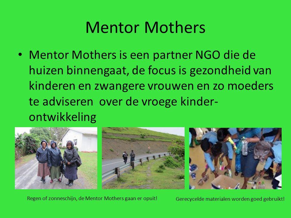 Mentor Mothers is een partner NGO die de huizen binnengaat, de focus is gezondheid van kinderen en zwangere vrouwen en zo moeders te adviseren over de vroege kinder- ontwikkeling Gerecycelde materialen worden goed gebruikt.