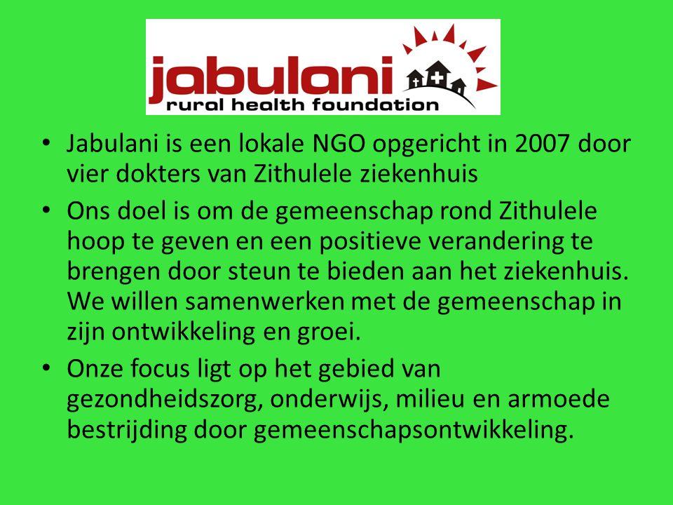 Jabulani is een lokale NGO opgericht in 2007 door vier dokters van Zithulele ziekenhuis Ons doel is om de gemeenschap rond Zithulele hoop te geven en een positieve verandering te brengen door steun te bieden aan het ziekenhuis.