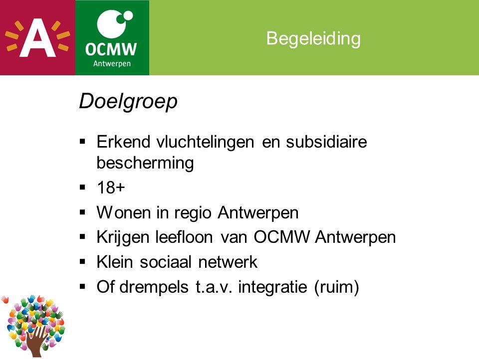 Begeleiding Doelgroep  Erkend vluchtelingen en subsidiaire bescherming  18+  Wonen in regio Antwerpen  Krijgen leefloon van OCMW Antwerpen  Klein sociaal netwerk  Of drempels t.a.v.