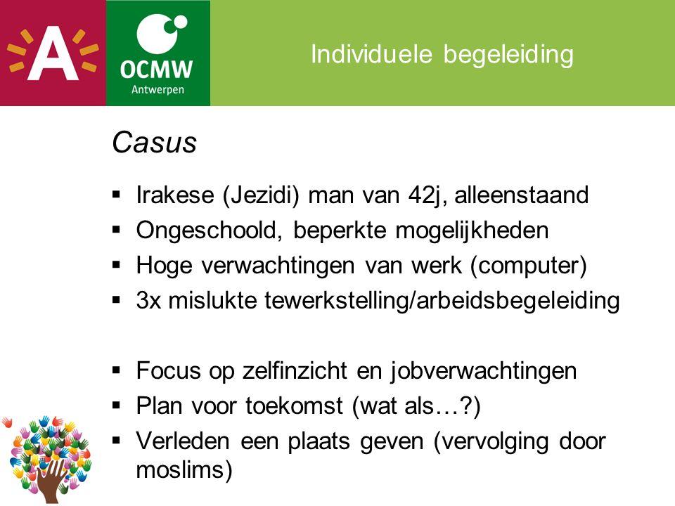 Individuele begeleiding Casus  Irakese (Jezidi) man van 42j, alleenstaand  Ongeschoold, beperkte mogelijkheden  Hoge verwachtingen van werk (computer)  3x mislukte tewerkstelling/arbeidsbegeleiding  Focus op zelfinzicht en jobverwachtingen  Plan voor toekomst (wat als… )  Verleden een plaats geven (vervolging door moslims)