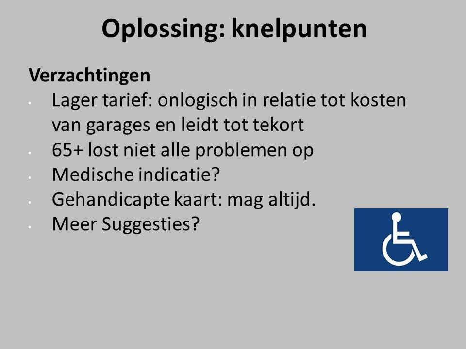 Oplossing: knelpunten Verzachtingen Lager tarief: onlogisch in relatie tot kosten van garages en leidt tot tekort 65+ lost niet alle problemen op Medische indicatie.
