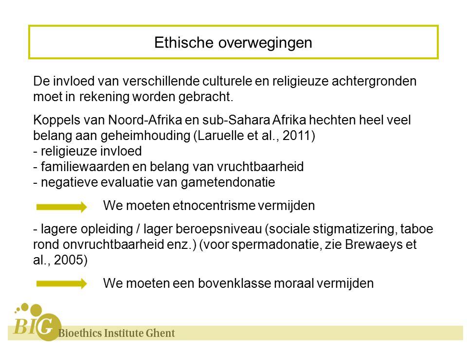 Ethische overwegingen De invloed van verschillende culturele en religieuze achtergronden moet in rekening worden gebracht.