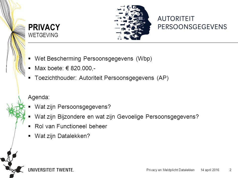  Wet Bescherming Persoonsgegevens (Wbp)  Max boete: € 820.000,-  Toezichthouder: Autoriteit Persoonsgegevens (AP) Agenda:  Wat zijn Persoonsgegeve