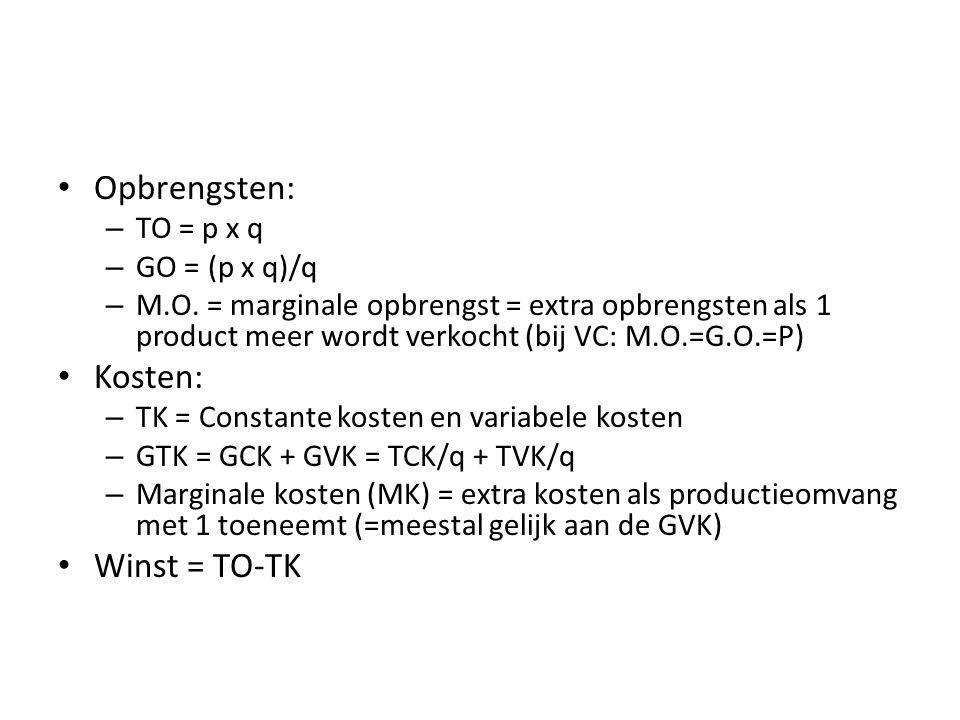 Opbrengsten: – TO = p x q – GO = (p x q)/q – M.O.