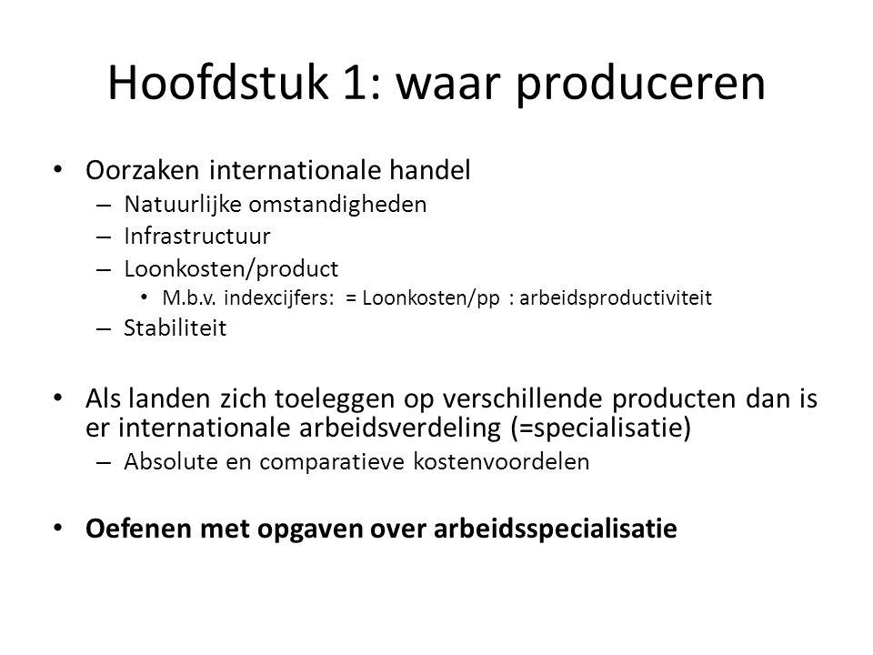 Hoofdstuk 1: waar produceren Oorzaken internationale handel – Natuurlijke omstandigheden – Infrastructuur – Loonkosten/product M.b.v.