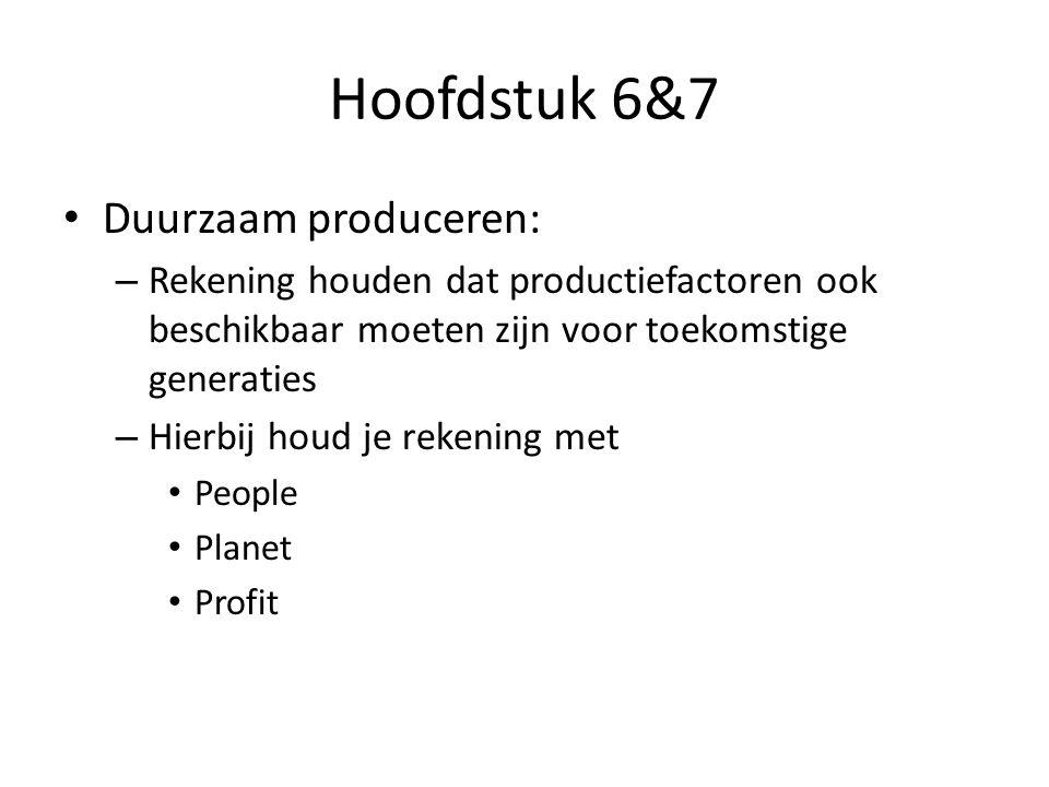 Hoofdstuk 6&7 Duurzaam produceren: – Rekening houden dat productiefactoren ook beschikbaar moeten zijn voor toekomstige generaties – Hierbij houd je rekening met People Planet Profit