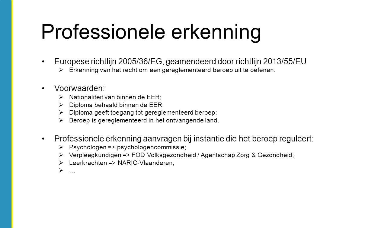 Europese richtlijn 2005/36/EG, geamendeerd door richtlijn 2013/55/EU  Erkenning van het recht om een gereglementeerd beroep uit te oefenen. Voorwaard