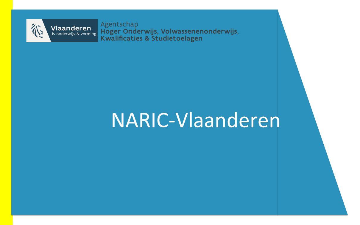 NARIC = National Academic Recognition Information Centre Behorend tot een Europees Netwerk: www.enic- naric.netwww.enic- naric.net Verantwoordelijk voor het erkennen van buitenlandse studiebewijzen met een overeenkomstige Vlaamse graad en voor de verstrekking van informatie hierrond Situering NARIC-Vlaanderen