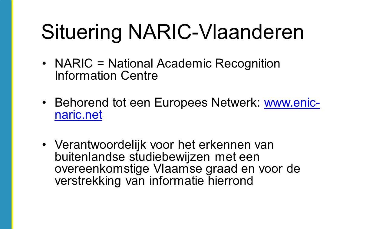 NARIC = National Academic Recognition Information Centre Behorend tot een Europees Netwerk: www.enic- naric.netwww.enic- naric.net Verantwoordelijk vo