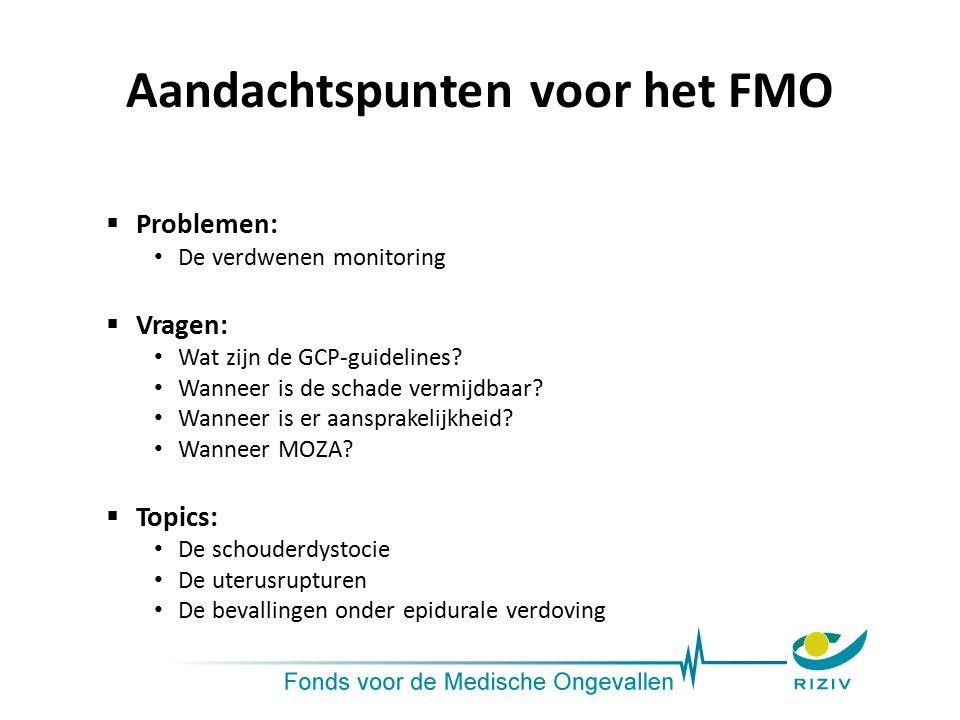 Aandachtspunten voor het FMO  Problemen: De verdwenen monitoring  Vragen: Wat zijn de GCP-guidelines? Wanneer is de schade vermijdbaar? Wanneer is e