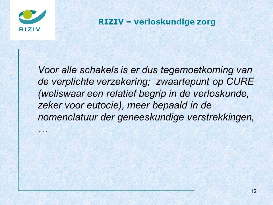 RIZIV – verloskundige zorg Voor alle schakels is er dus tegemoetkoming van de verplichte verzekering; zwaartepunt op CURE (weliswaar een relatief begrip in de verloskunde, zeker voor eutocie), meer bepaald in de nomenclatuur der geneeskundige verstrekkingen, … 12