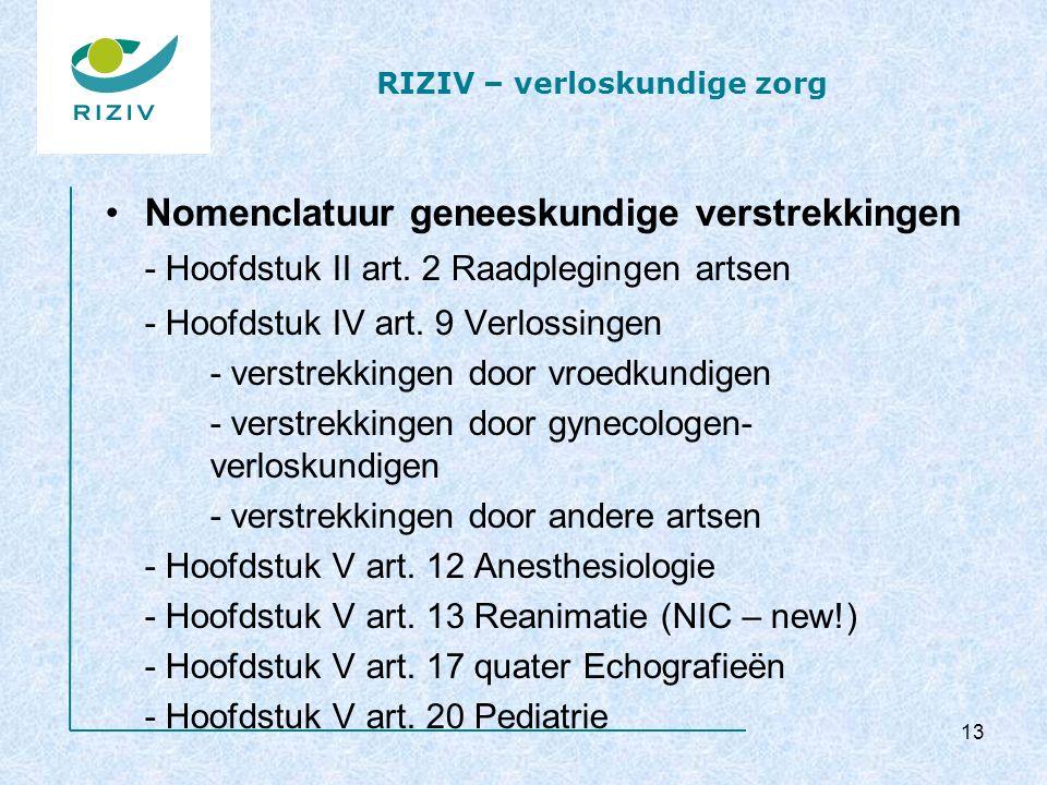 RIZIV – verloskundige zorg Nomenclatuur geneeskundige verstrekkingen - Hoofdstuk II art. 2 Raadplegingen artsen - Hoofdstuk IV art. 9 Verlossingen - v