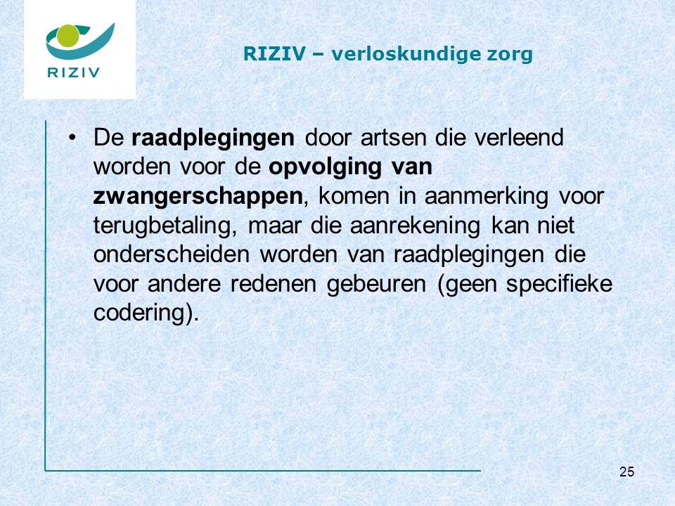RIZIV – verloskundige zorg De raadplegingen door artsen die verleend worden voor de opvolging van zwangerschappen, komen in aanmerking voor terugbetaling, maar die aanrekening kan niet onderscheiden worden van raadplegingen die voor andere redenen gebeuren (geen specifieke codering).