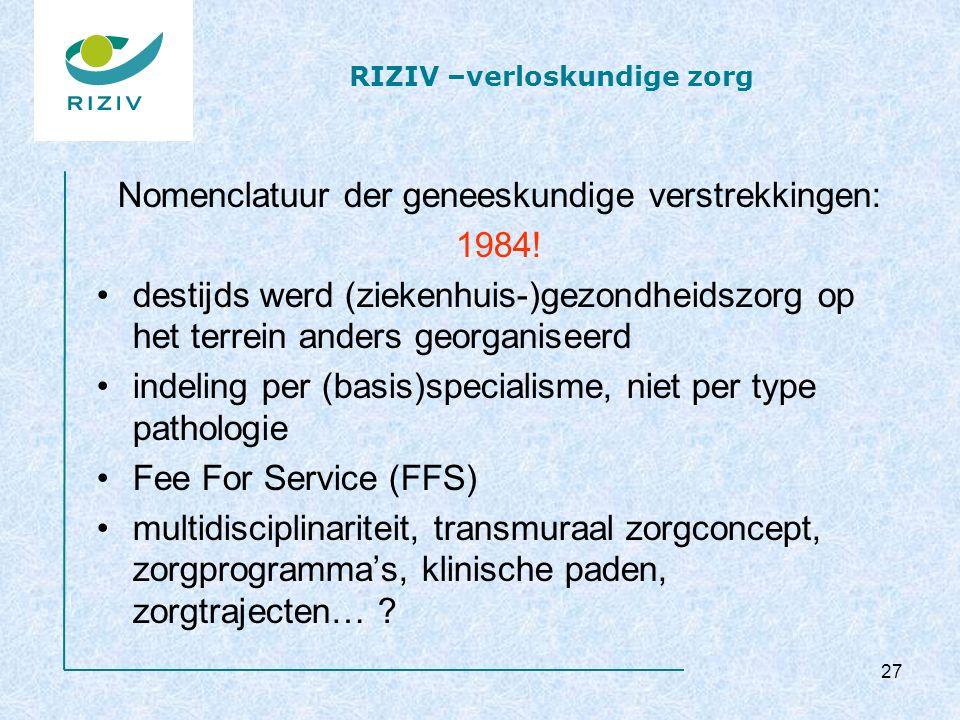 RIZIV –verloskundige zorg Nomenclatuur der geneeskundige verstrekkingen: 1984! destijds werd (ziekenhuis-)gezondheidszorg op het terrein anders georga