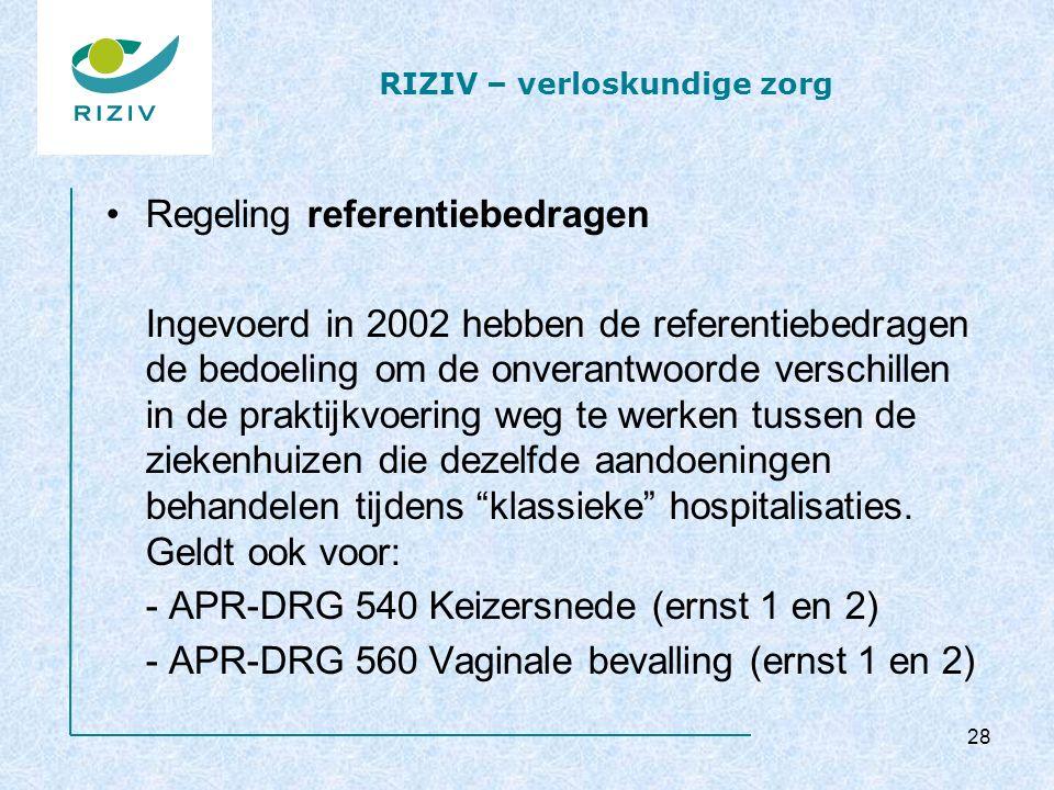 RIZIV – verloskundige zorg Regeling referentiebedragen Ingevoerd in 2002 hebben de referentiebedragen de bedoeling om de onverantwoorde verschillen in de praktijkvoering weg te werken tussen de ziekenhuizen die dezelfde aandoeningen behandelen tijdens klassieke hospitalisaties.