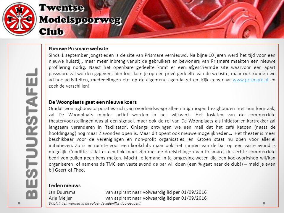 BESTUURSTAFEL Nieuwe Prismare website Sinds 1 september jongstleden is de site van Prismare vernieuwd.