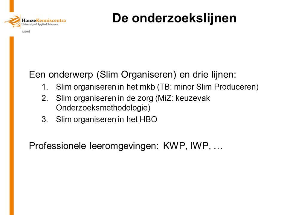 De onderzoekslijnen Een onderwerp (Slim Organiseren) en drie lijnen: 1.Slim organiseren in het mkb (TB: minor Slim Produceren) 2.Slim organiseren in d