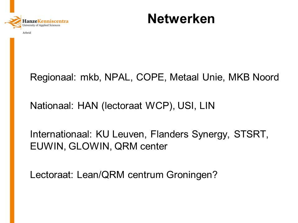 Netwerken Regionaal: mkb, NPAL, COPE, Metaal Unie, MKB Noord Nationaal: HAN (lectoraat WCP), USI, LIN Internationaal: KU Leuven, Flanders Synergy, STSRT, EUWIN, GLOWIN, QRM center Lectoraat: Lean/QRM centrum Groningen