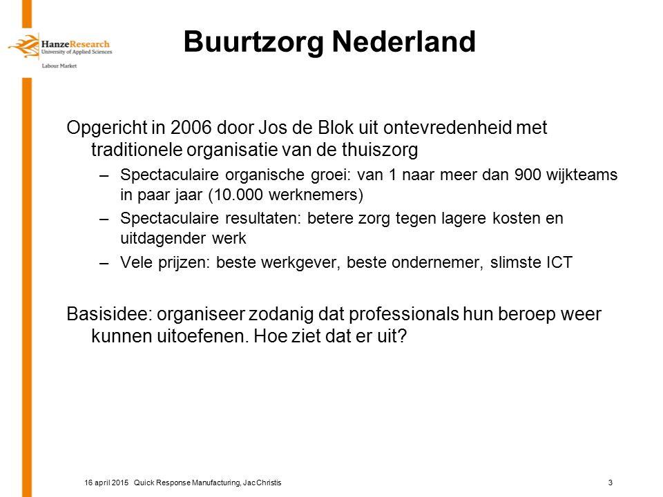 Buurtzorg Nederland Opgericht in 2006 door Jos de Blok uit ontevredenheid met traditionele organisatie van de thuiszorg –Spectaculaire organische groei: van 1 naar meer dan 900 wijkteams in paar jaar (10.000 werknemers) –Spectaculaire resultaten: betere zorg tegen lagere kosten en uitdagender werk –Vele prijzen: beste werkgever, beste ondernemer, slimste ICT Basisidee: organiseer zodanig dat professionals hun beroep weer kunnen uitoefenen.