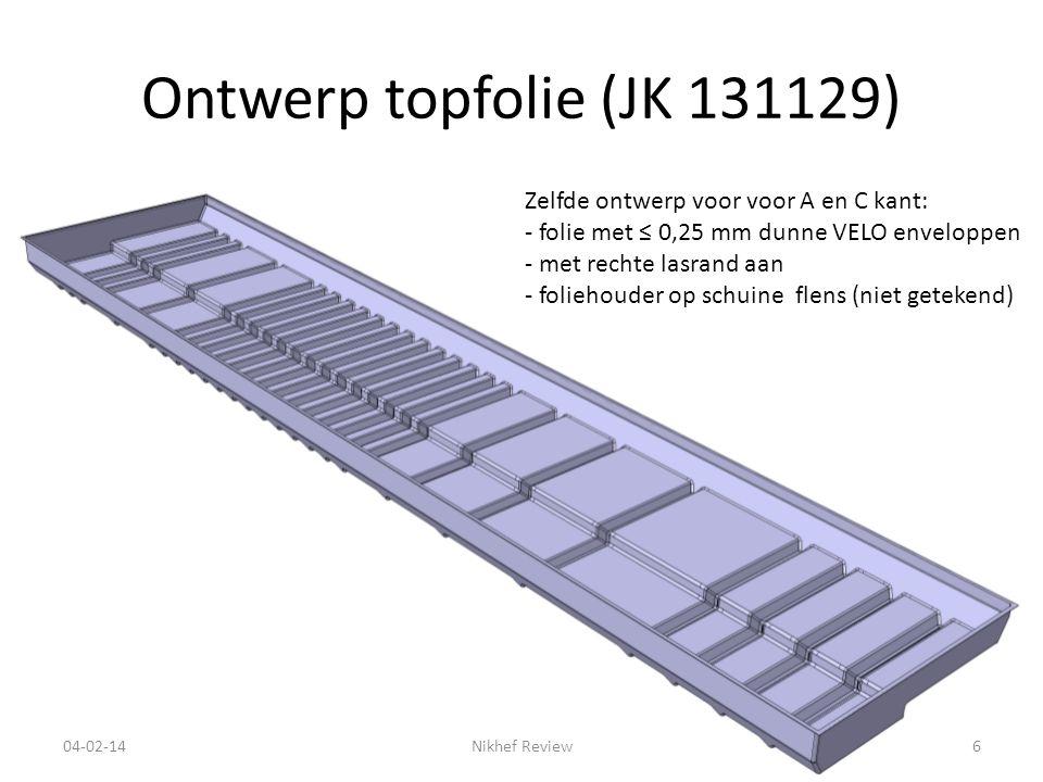 Ontwerp topfolie (JK 131129) 04-02-14Nikhef Review6 Zelfde ontwerp voor voor A en C kant: - folie met ≤ 0,25 mm dunne VELO enveloppen - met rechte lasrand aan - foliehouder op schuine flens (niet getekend)