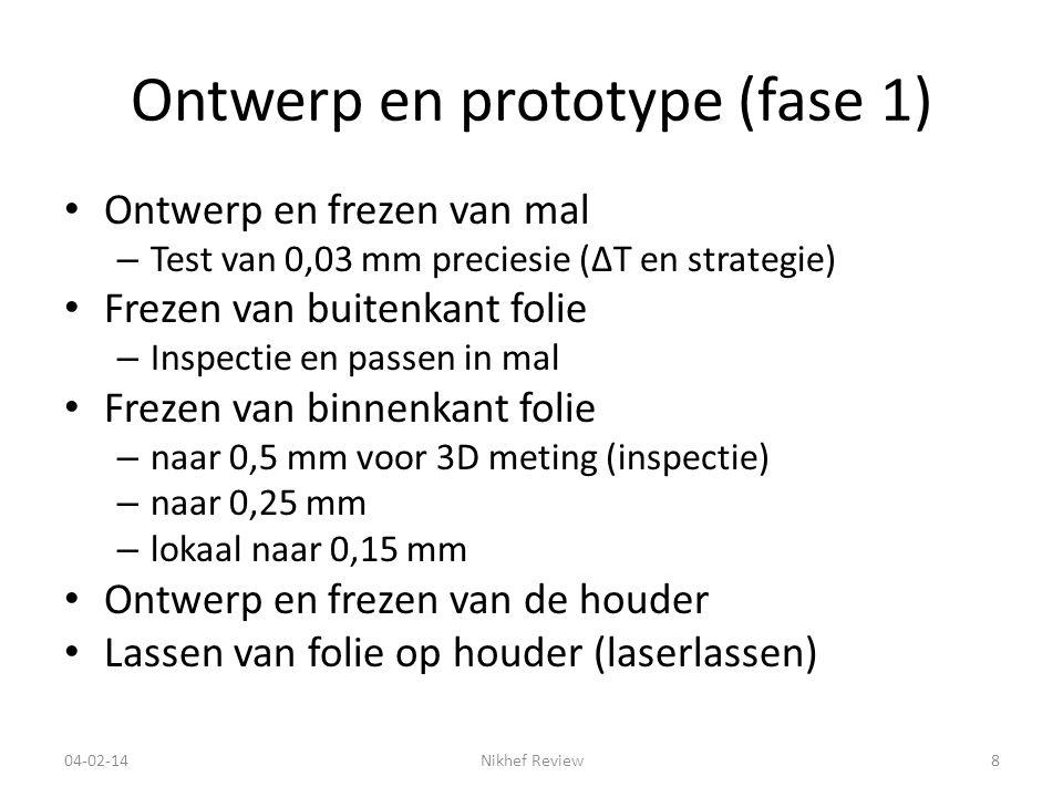 Ontwerp en prototype (fase 1) Ontwerp en frezen van mal – Test van 0,03 mm preciesie (ΔT en strategie) Frezen van buitenkant folie – Inspectie en passen in mal Frezen van binnenkant folie – naar 0,5 mm voor 3D meting (inspectie) – naar 0,25 mm – lokaal naar 0,15 mm Ontwerp en frezen van de houder Lassen van folie op houder (laserlassen) 04-02-14Nikhef Review8