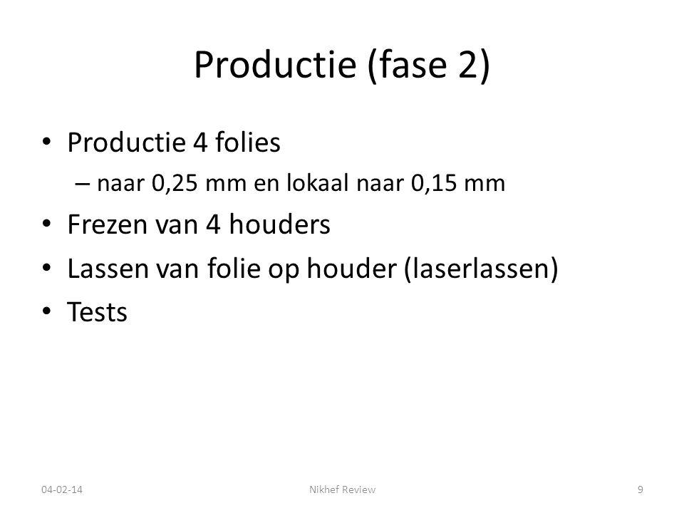 Productie (fase 2) Productie 4 folies – naar 0,25 mm en lokaal naar 0,15 mm Frezen van 4 houders Lassen van folie op houder (laserlassen) Tests 04-02-14Nikhef Review9
