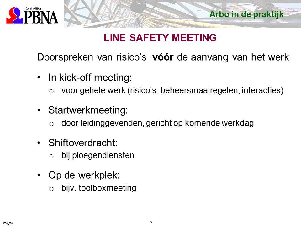 LINE SAFETY MEETING Doorspreken van risico's vóór de aanvang van het werk In kick-off meeting: o voor gehele werk (risico's, beheersmaatregelen, interacties) Startwerkmeeting: o door leidinggevenden, gericht op komende werkdag Shiftoverdracht: o bij ploegendiensten Op de werkplek: o bijv.