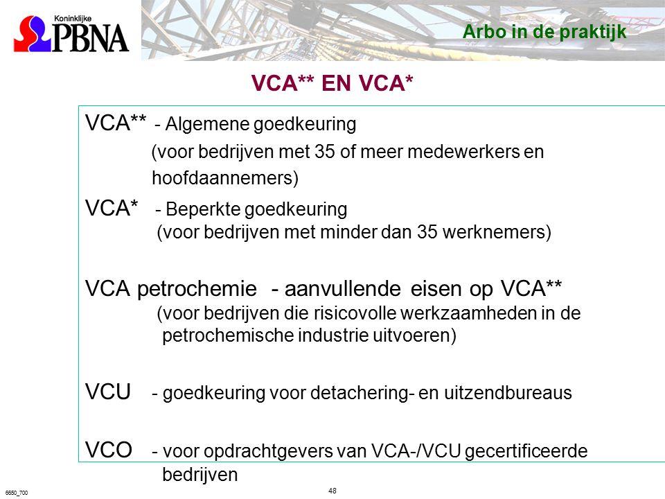 VCA** EN VCA* VCA** - Algemene goedkeuring (voor bedrijven met 35 of meer medewerkers en hoofdaannemers) VCA* - Beperkte goedkeuring (voor bedrijven met minder dan 35 werknemers) VCA petrochemie - aanvullende eisen op VCA** (voor bedrijven die risicovolle werkzaamheden in de petrochemische industrie uitvoeren) VCU - goedkeuring voor detachering- en uitzendbureaus VCO - voor opdrachtgevers van VCA-/VCU gecertificeerde bedrijven 48 6650_700 Arbo in de praktijk
