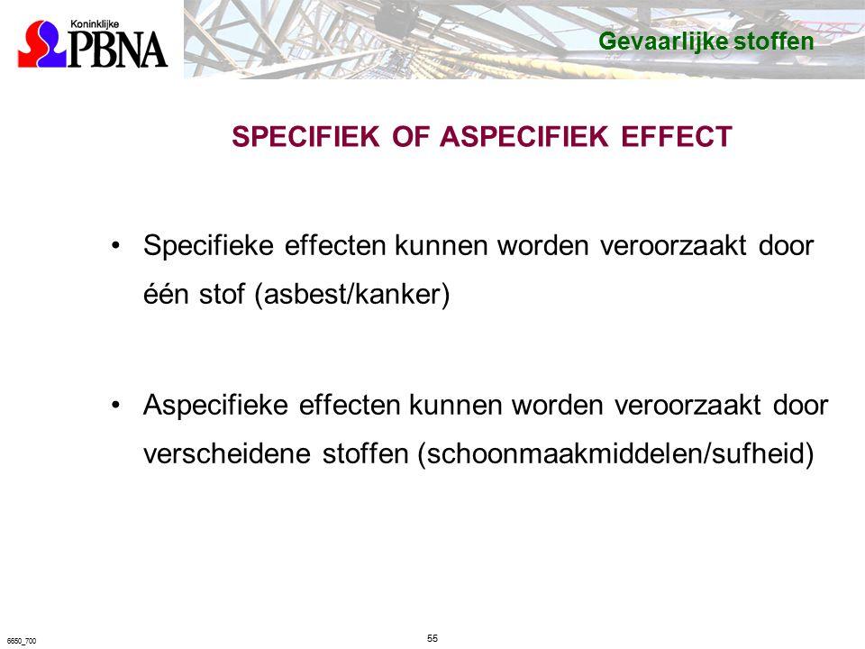SPECIFIEK OF ASPECIFIEK EFFECT Specifieke effecten kunnen worden veroorzaakt door één stof (asbest/kanker) Aspecifieke effecten kunnen worden veroorzaakt door verscheidene stoffen (schoonmaakmiddelen/sufheid) 55 6650_700 Gevaarlijke stoffen