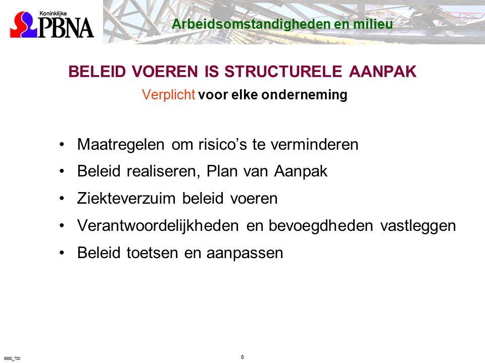 PLAN VAN AANPAK Plan voor verbeteren van arbeidsomstandigheden Bevat o.a.