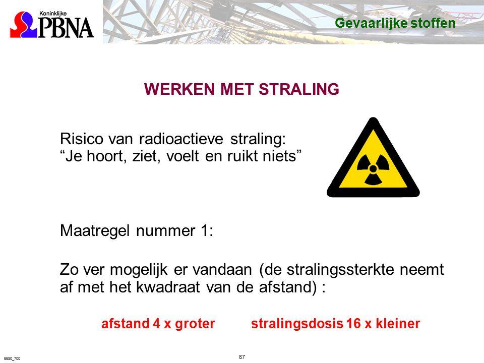 Risico van radioactieve straling: Je hoort, ziet, voelt en ruikt niets Maatregel nummer 1: Zo ver mogelijk er vandaan (de stralingssterkte neemt af met het kwadraat van de afstand) : afstand 4 x groter stralingsdosis 16 x kleiner 67 6650_700 Gevaarlijke stoffen
