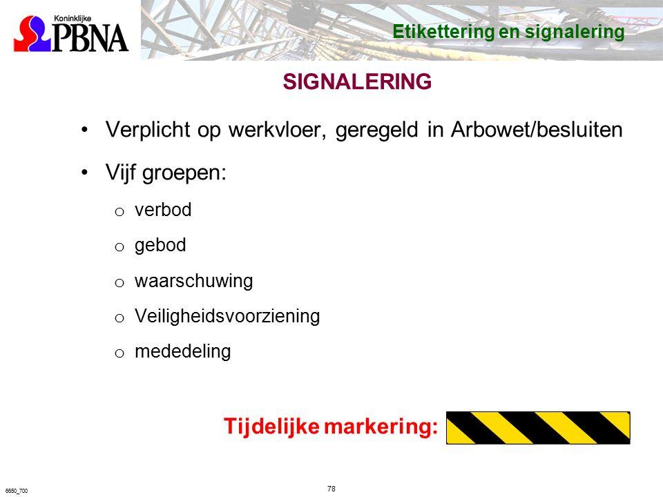 SIGNALERING Verplicht op werkvloer, geregeld in Arbowet/besluiten Vijf groepen: o verbod o gebod o waarschuwing o Veiligheidsvoorziening o mededeling Tijdelijke markering: 78 6650_700 Etikettering en signalering