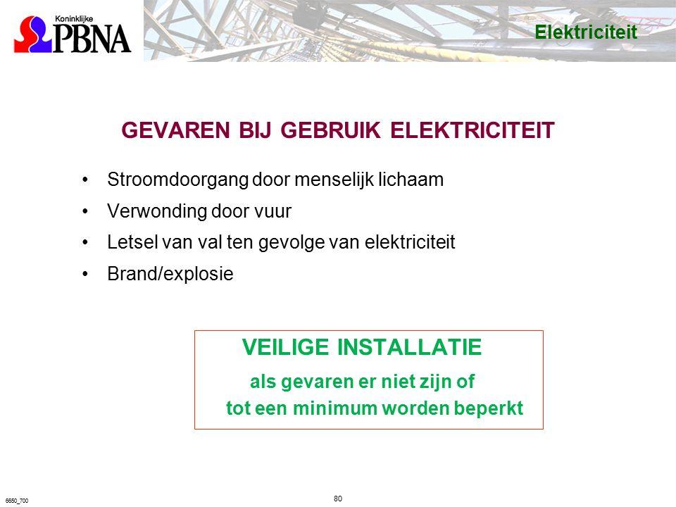 GEVAREN BIJ GEBRUIK ELEKTRICITEIT Stroomdoorgang door menselijk lichaam Verwonding door vuur Letsel van val ten gevolge van elektriciteit Brand/explosie VEILIGE INSTALLATIE als gevaren er niet zijn of tot een minimum worden beperkt 80 6650_700 Elektriciteit
