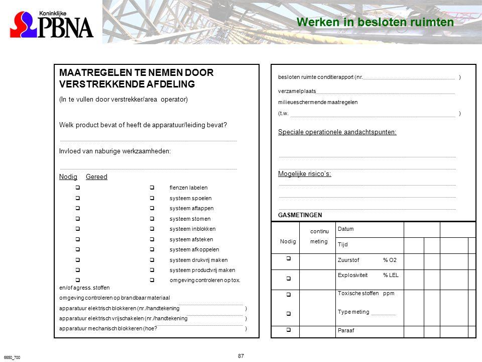87 6650_700 MAATREGELEN TE NEMEN DOOR VERSTREKKENDE AFDELING (In te vullen door verstrekker/area operator) Welk product bevat of heeft de apparatuur/leiding bevat.