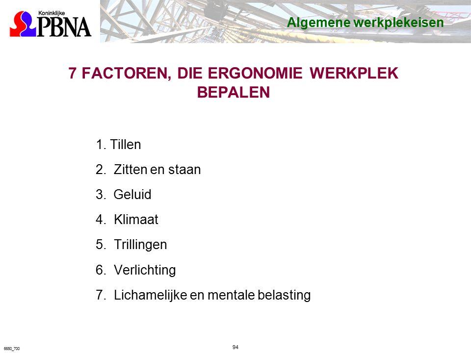 7 FACTOREN, DIE ERGONOMIE WERKPLEK BEPALEN 1. Tillen 2.