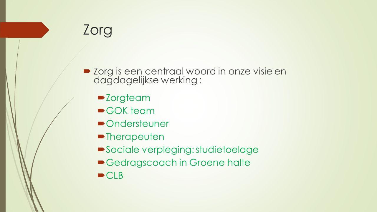 Zorg  Zorg is een centraal woord in onze visie en dagdagelijkse werking :  Zorgteam  GOK team  Ondersteuner  Therapeuten  Sociale verpleging: studietoelage  Gedragscoach in Groene halte  CLB