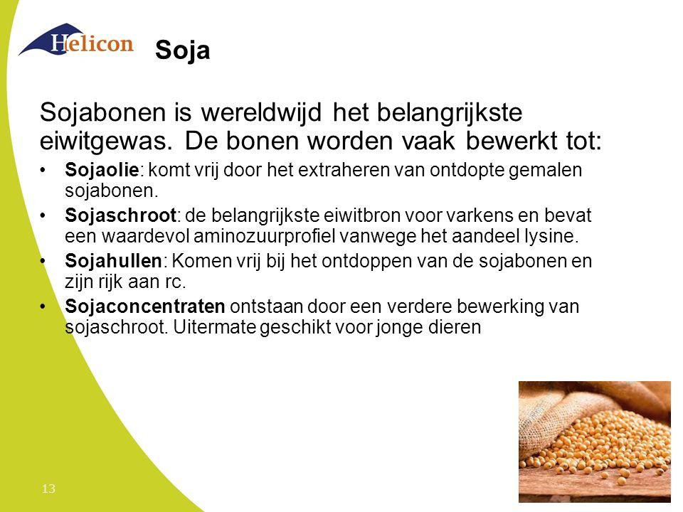 Soja Sojabonen is wereldwijd het belangrijkste eiwitgewas. De bonen worden vaak bewerkt tot: Sojaolie: komt vrij door het extraheren van ontdopte gema