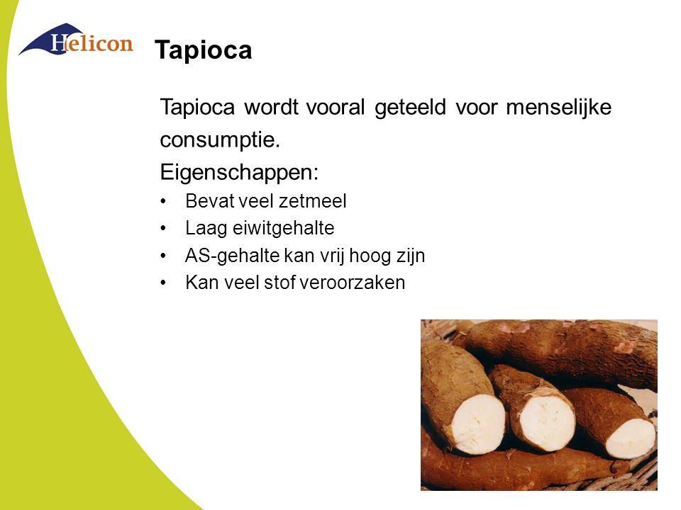Tapioca Tapioca wordt vooral geteeld voor menselijke consumptie. Eigenschappen: Bevat veel zetmeel Laag eiwitgehalte AS-gehalte kan vrij hoog zijn Kan