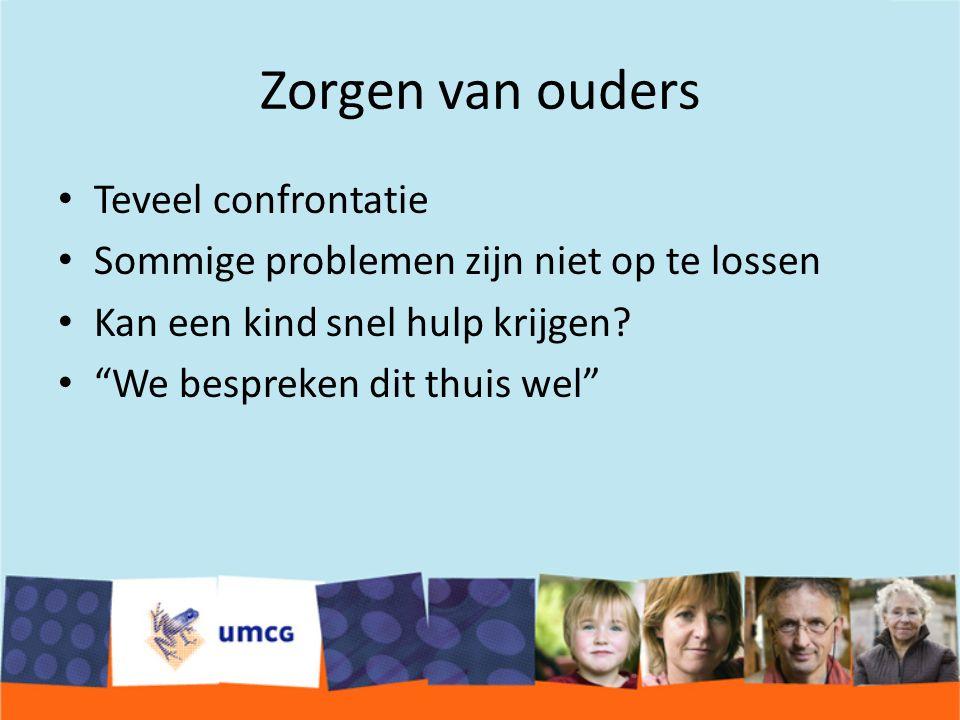 Zorgen van ouders Teveel confrontatie Sommige problemen zijn niet op te lossen Kan een kind snel hulp krijgen.