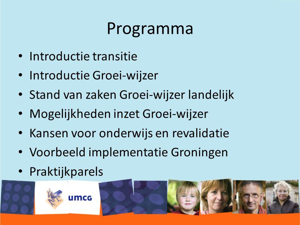 Programma Introductie transitie Introductie Groei-wijzer Stand van zaken Groei-wijzer landelijk Mogelijkheden inzet Groei-wijzer Kansen voor onderwijs en revalidatie Voorbeeld implementatie Groningen Praktijkparels