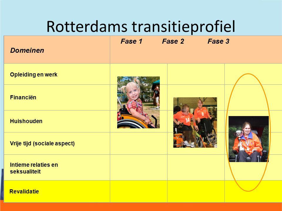 Rotterdams transitieprofiel Domeinen Fase 1 Fase 2 Fase 3 Opleiding en werk Financiën Huishouden Vrije tijd (sociale aspect) Intieme relaties en seksualiteit Rehabilitation Revalidatie