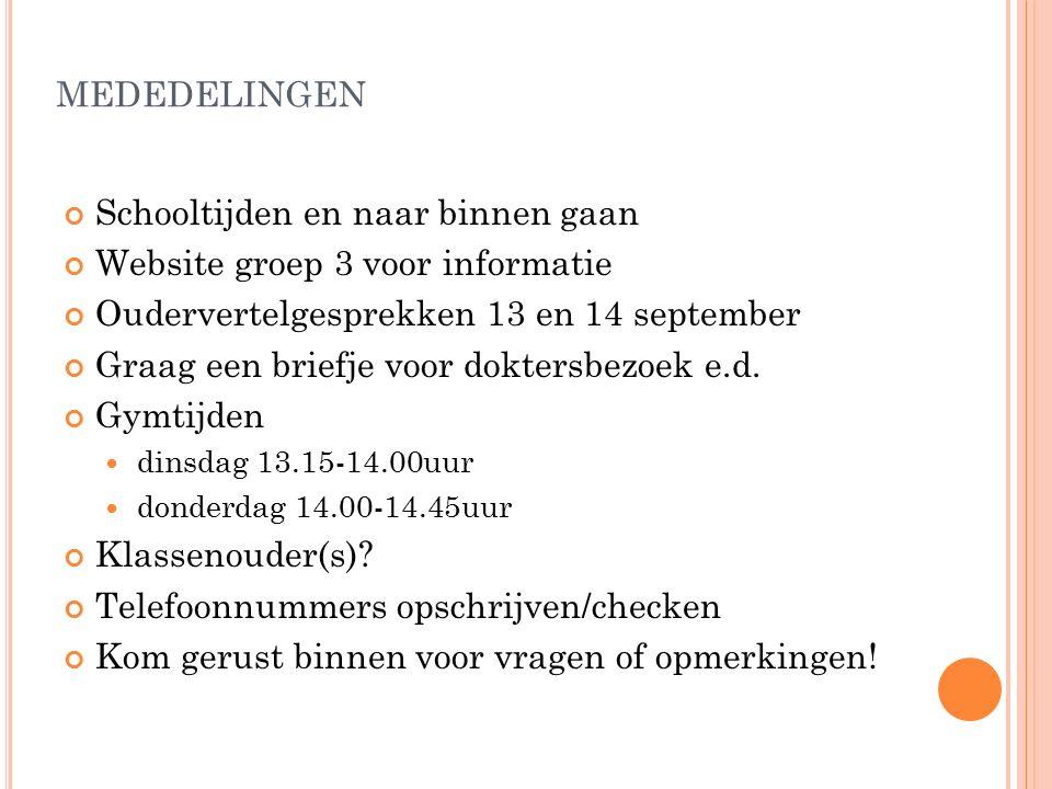 MEDEDELINGEN Schooltijden en naar binnen gaan Website groep 3 voor informatie Oudervertelgesprekken 13 en 14 september Graag een briefje voor doktersbezoek e.d.