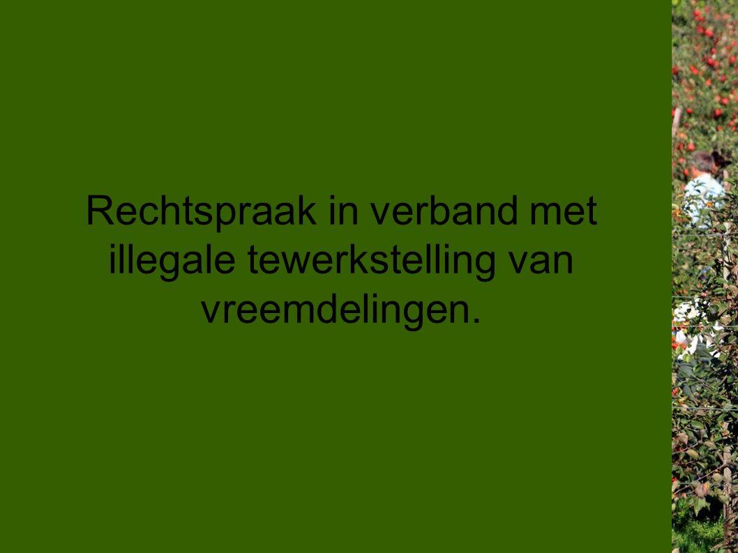 Rechtspraak in verband met illegale tewerkstelling van vreemdelingen.