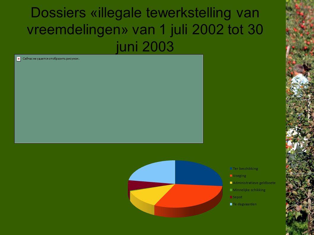 Dossiers «illegale tewerkstelling van vreemdelingen» van 1 juli 2002 tot 30 juni 2003