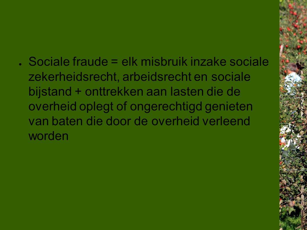 ● Sociale fraude = elk misbruik inzake sociale zekerheidsrecht, arbeidsrecht en sociale bijstand + onttrekken aan lasten die de overheid oplegt of ongerechtigd genieten van baten die door de overheid verleend worden