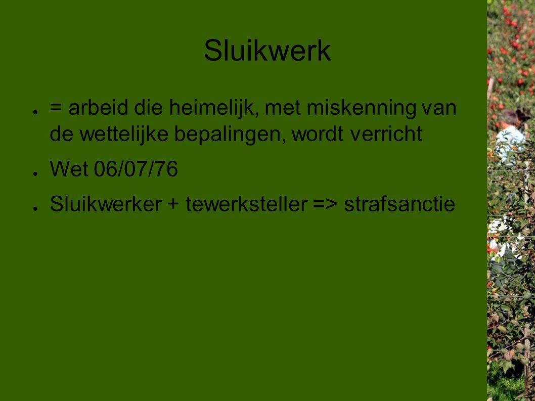 Sluikwerk ● = arbeid die heimelijk, met miskenning van de wettelijke bepalingen, wordt verricht ● Wet 06/07/76 ● Sluikwerker + tewerksteller => strafsanctie