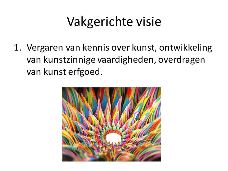 Vakgerichte visie 1.Vergaren van kennis over kunst, ontwikkeling van kunstzinnige vaardigheden, overdragen van kunst erfgoed.