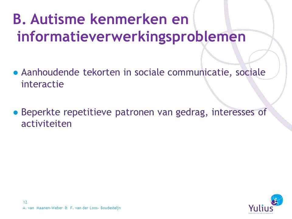 B. Autisme kenmerken en informatieverwerkingsproblemen 12 ●Aanhoudende tekorten in sociale communicatie, sociale interactie ●Beperkte repetitieve patr
