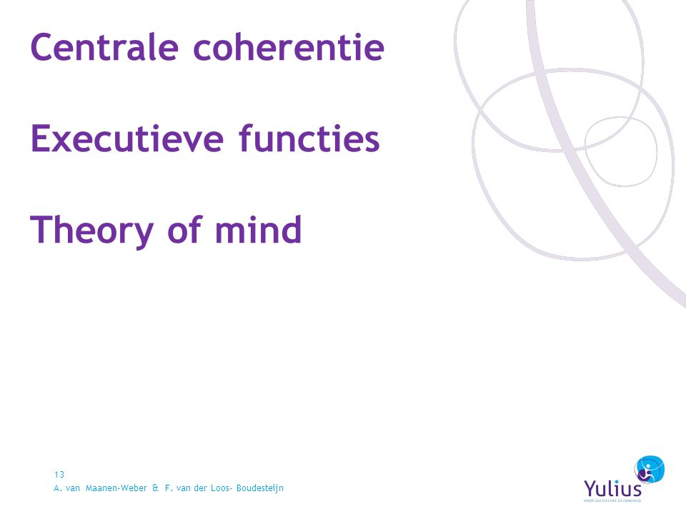 Centrale coherentie Executieve functies Theory of mind 13 A.